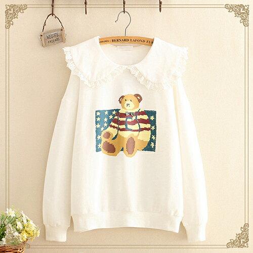 蕾絲邊娃娃領小熊印花薄款衛衣(3色F碼)【OREAD】 2