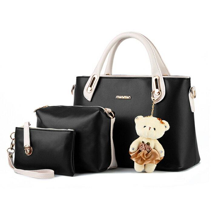 經典時尚撞色潮流小熊吊飾包中包三件組 #KLY8878 1