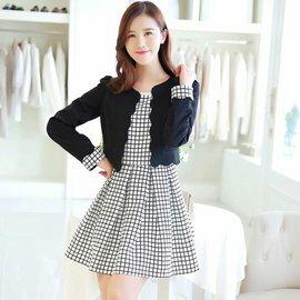 秋裝兩件套韓版修身氣質格子連身裙小西裝外套(2色M~2L) 【OREAD】 1