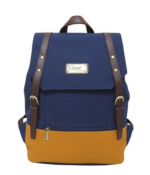 CORRE【CP606】-帆布雙皮扣後背包 共三色 藍/紅/桃紅 1