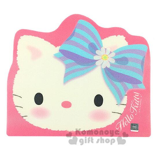 〔小禮堂〕Hello Kitty 造型滑鼠墊《粉.大臉.條紋白花蝴蝶結》底部防滑