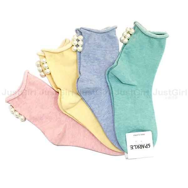 正韓 韓國襪 襪子 彈性襪 短襪 中筒襪 SPARKLE 素面 馬卡龍色 腳跟珍珠 藍綠粉