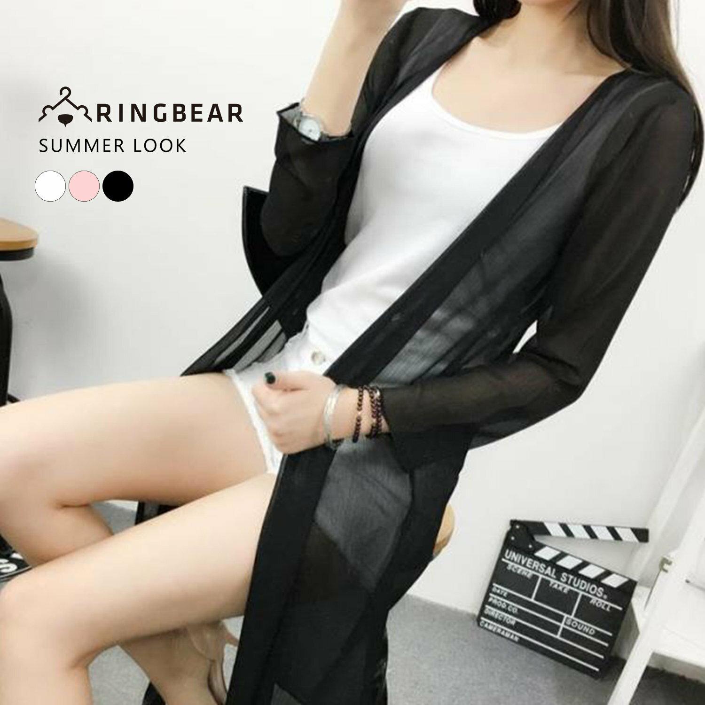 雪紡--飄逸氣質透膚開襟簡約剪裁直條雪紡罩衫(白.黑.粉XL-4L)-J214眼圈熊中大尺碼 1