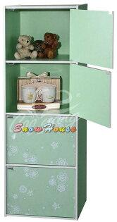 ╭☆雪之屋居家生活館☆╯R553-161718彩色四格四門組合櫃書櫃書架置物櫃雜物櫃DIY自組