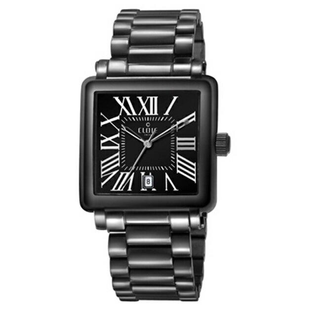 CLOIE 羅馬帝國不鏽鋼時尚腕錶-黑/29mm CL10345-CB21