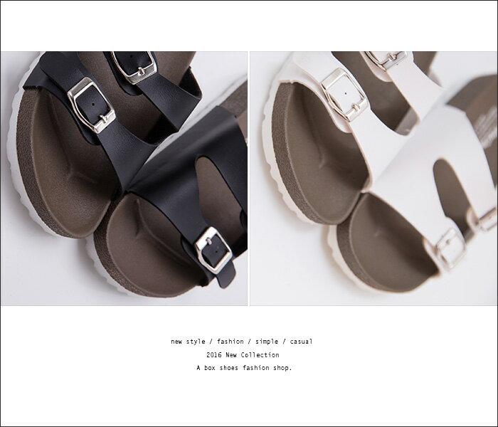 格子舖*【ADNW202】MIT台灣製 女款舒適時尚好看高質感皮革 金屬雙釦厚底拖鞋 涼鞋 3色 1