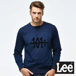 Lee 101+刺繡圓領長袖厚TEE-男款-深藍