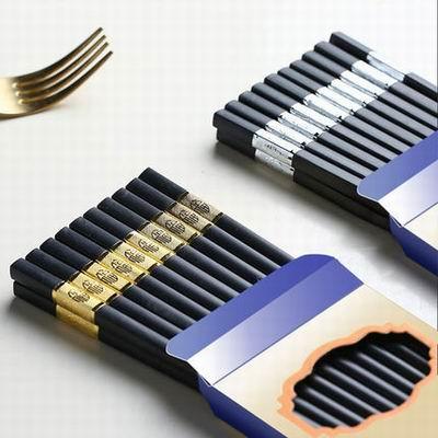 【合金筷子10雙家庭套裝-長24cm-1款/組】無漆無蠟耐高溫不發黴防滑非實木筷子餐具-8001020