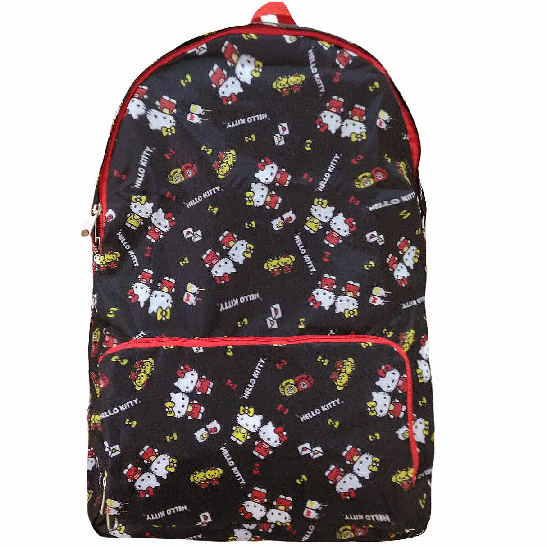 【真愛日本】17111400050 可拉摺疊收納後背包-KT2RBN黑 三麗鷗 kitty 凱蒂貓 後背包