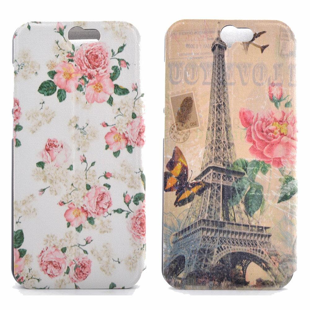 Samsung A7 2016 時尚彩繪手機皮套 側掀支架式皮套 鄉村薔薇/巴黎玫瑰 1