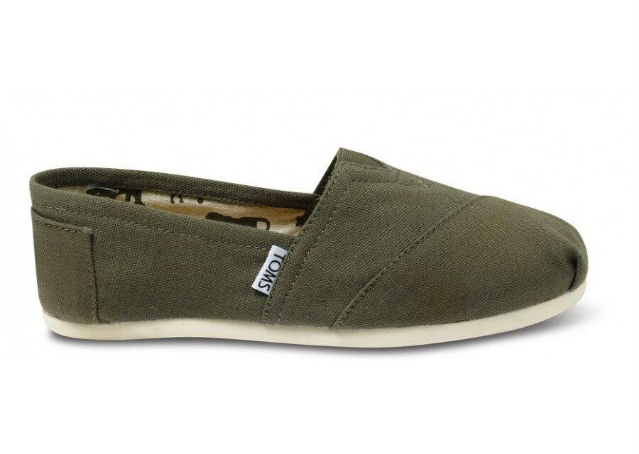 【TOMS】橄欖綠色素面基本款休閒鞋  Olive Canvas Women's Classics 2