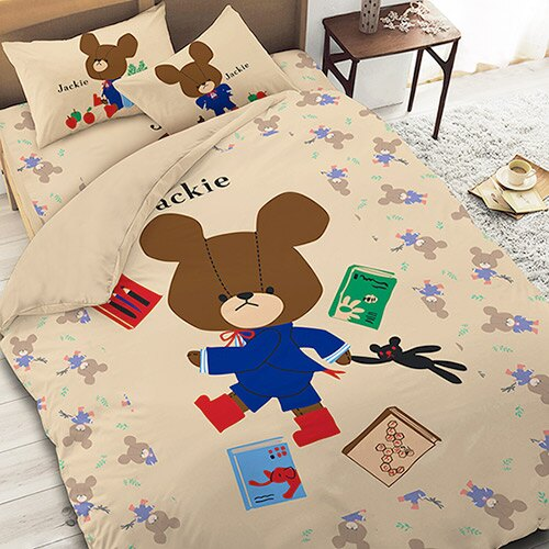 【享夢城堡】小熊學校 讀書樂系列-單人三件式床包薄被套組(卡其)