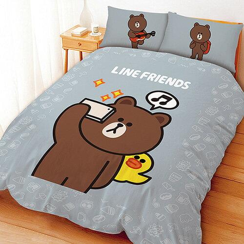 【享夢城堡】單人三件式床包薄被套組-LINE FRIENDS 熊大愛自拍(灰)