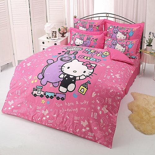 【享夢城堡】HELLO KITTY x RODY 歡樂時光系列-雙人純棉四件式床包涼被組(粉)