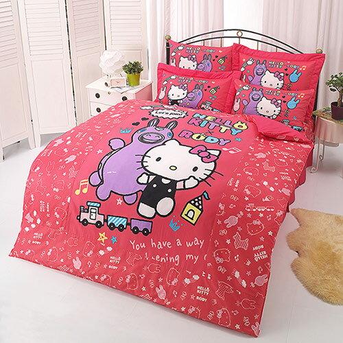 【享夢城堡】HELLO KITTY x RODY 歡樂時光系列-雙人純棉四件式床包涼被組(紅)