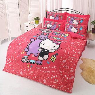 【享夢城堡】HELLO KITTY x RODY 歡樂時光系列-單人純棉三件式床包涼被組(紅)