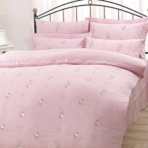 HELLO KITTY 優雅茶宴電繡系列-精梳棉單人床包薄被套組