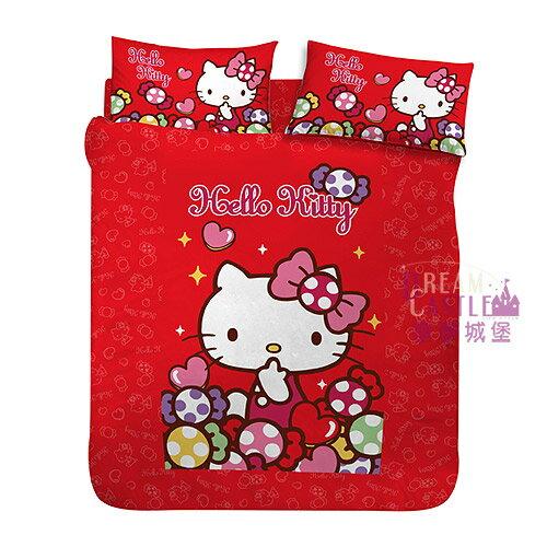 【享夢城堡】單人床包枕套3.5X6.2二件式組-HELLOKITTY彩虹糖樂園-紅
