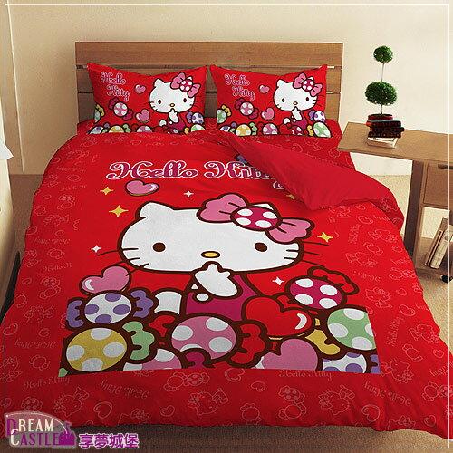 【享夢城堡】單人床包涼被三件式組-HELLOKITTY彩虹糖樂園-紅