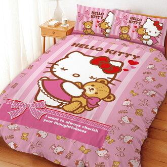【享夢城堡】HELLO KITTY我愛麻吉熊系列-雙人四件式床包涼被組