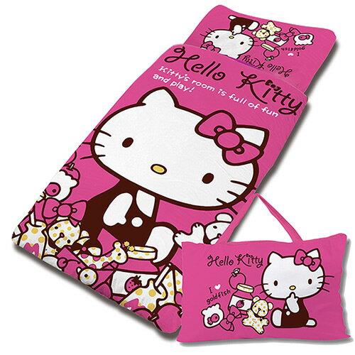 【享夢城堡】HELLO KITTY 我的遊戲房系列-兒童睡袋(粉)