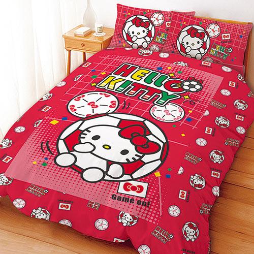 【享夢城堡】雙人床包枕套5X6.2三件式組-HELLOKITTY瘋足球-紅