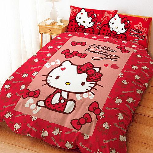 【享夢城堡】HELLO KITTY 蝴蝶結甜心系列-雙人四件式床包涼被組(紅)