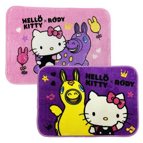 【享夢城堡】HELLO KITTY & RODY 我的好朋友 法蘭絨地墊2入(粉+紫)