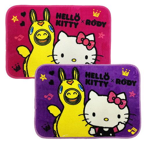 【享夢城堡】HELLO KITTY & RODY Hello Friend法蘭絨地墊2入(桃+紫)