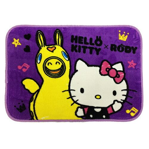 【享夢城堡】HELLO KITTY & RODY Hello Friend法蘭絨地墊2入(紫)