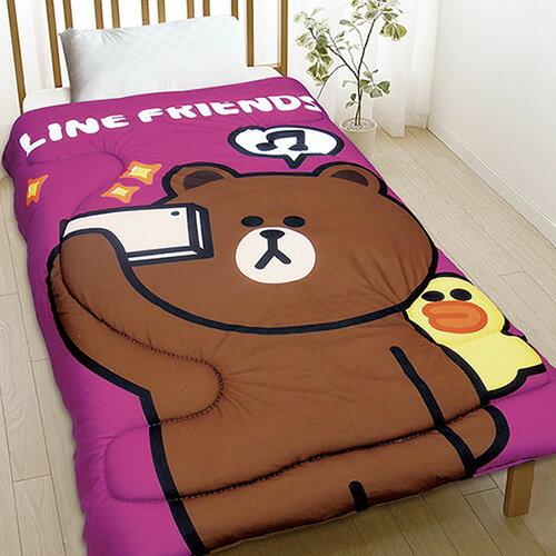 【享夢城堡】刷毛毯被150x195cm-LINEFRIENDS熊大愛自拍-紫