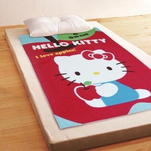 【享夢城堡】薄刷毛空調毯100x150cm-HELLOKITTY我愛蘋果