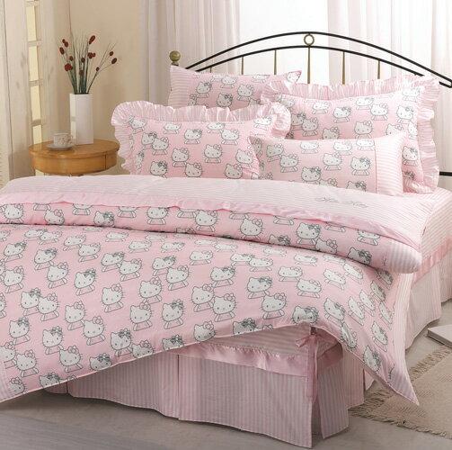 【享夢城堡】HELLO KITTY 貴族學園系列-精梳棉雙人床包兩用被組