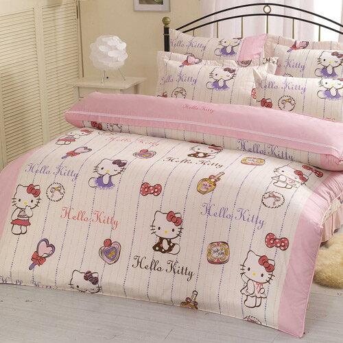 【享夢城堡】精梳棉雙人床罩兩用被套六件式組-HELLOKITTY妝點寶貝-粉.白
