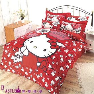 【享夢城堡】HELLO KITTY嗨~你好嗎系列-四件式雙人床包涼被組(紅)