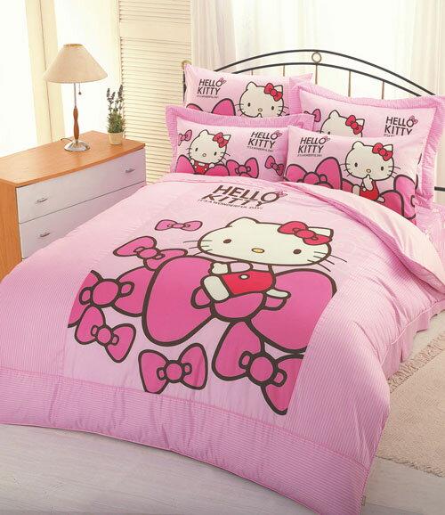 Hello Kitty蝴蝶結-單人床包涼被組