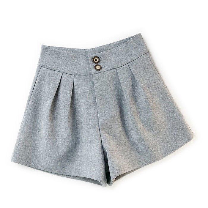 短褲 素色 雙釦 寬版腰 壓摺 寬管褲 百搭 短褲【HA850】 BOBI  02 / 14 5