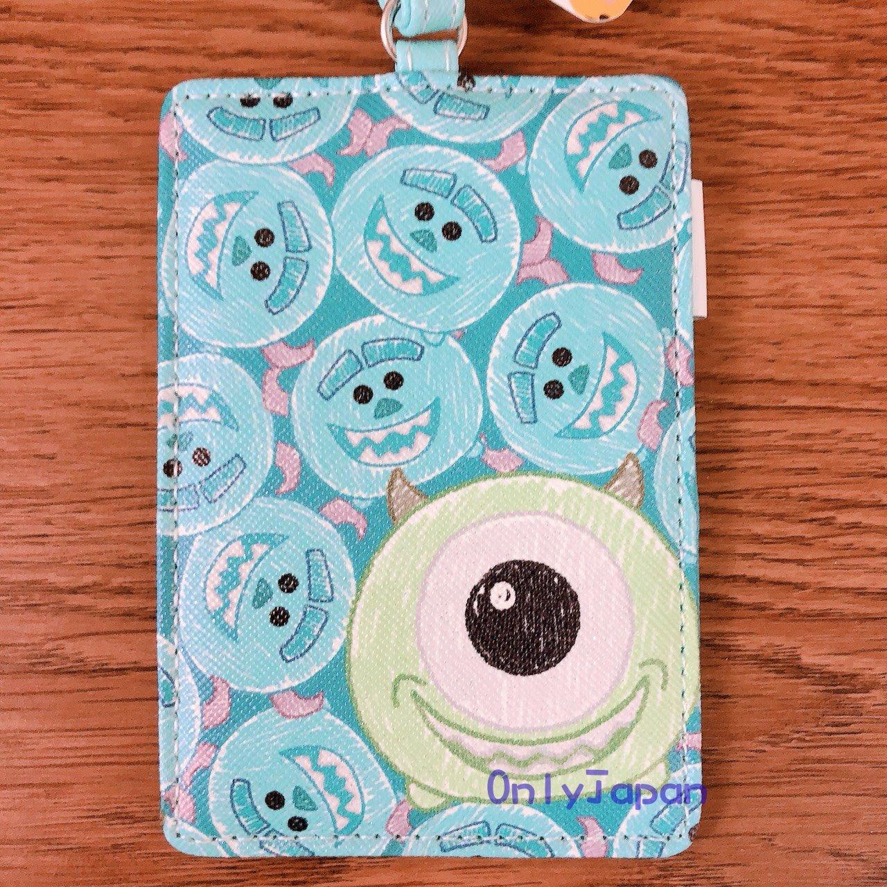 【真愛日本】18030900026 斜紋皮革票卡夾-TSUM畫筆毛怪大眼藍 怪獸大學 大眼仔 毛怪 票卡夾 卡片套