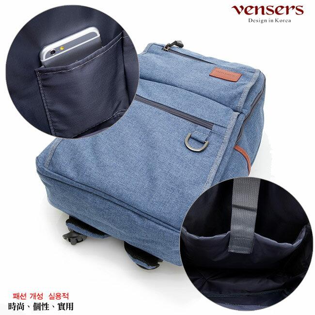 【vensers】簡約丹寧牛仔後背包(R00066103牛仔藍) 5