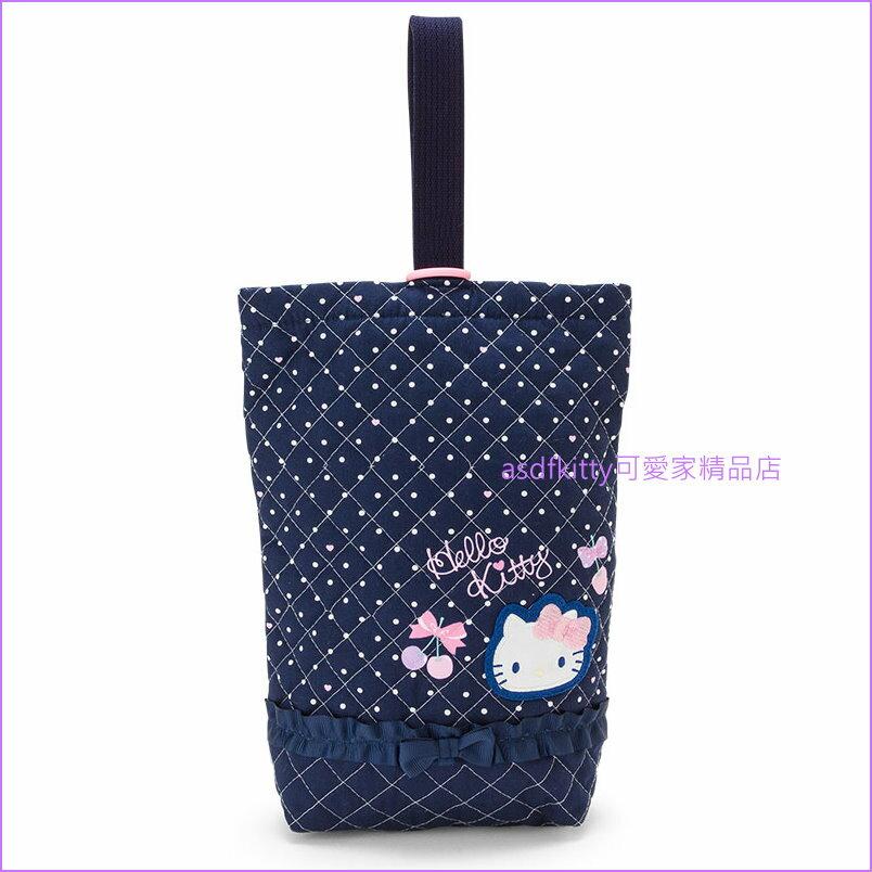 asdfkitty可愛家☆KITTY藍櫻桃 薄夾棉布鞋袋/置物袋/收納袋-日本製
