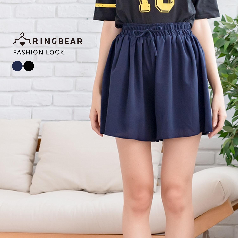 中大尺碼--氣質優雅綁帶寬版鬆緊帶雪紡寬口短褲(黑.藍XL-4L)-R213眼圈熊中大尺碼 0