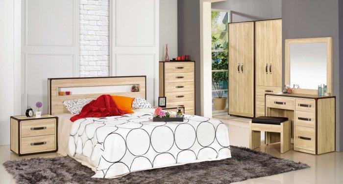 【尚品家具】JF-051-A 溫蒂5尺橡木紋雙人床組