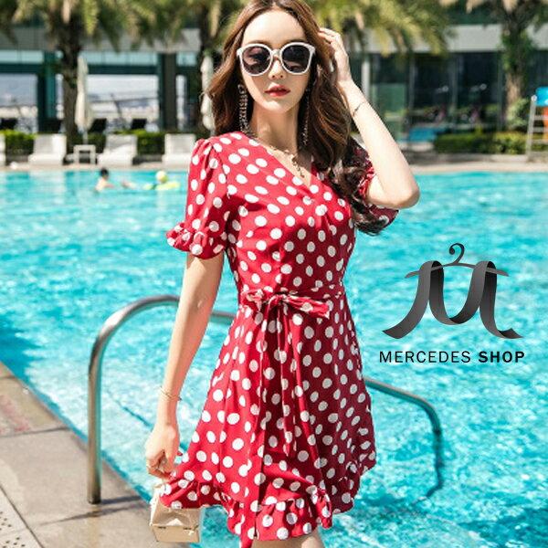 《全店75折》法式復古波點顯瘦連身裙短袖洋裝(S-L,2色)-梅西蒂絲(現貨+預購)