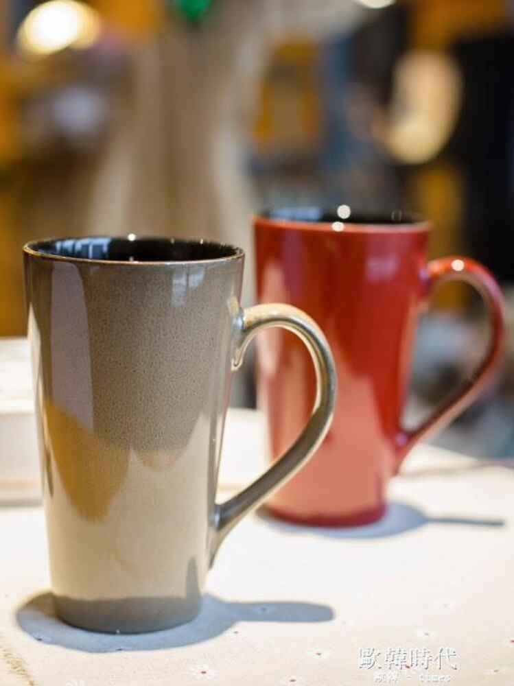 馬克杯大容量個性陶瓷杯子帶蓋勺簡約咖啡杯水杯家用情侶茶杯 歐韓時代