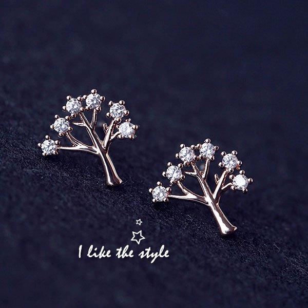 925銀針鋯石精緻小樹耳環【櫻桃飾品】【20364】