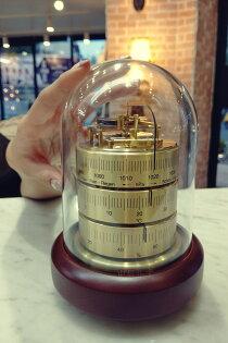 [東昇]德國BARIGO-3026三合一免電純銅鐘罩型手工天氣站(溫、濕度及氣壓)
