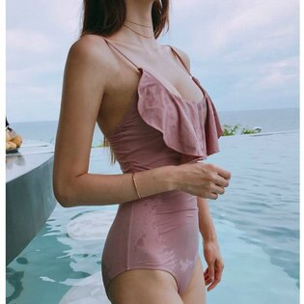 泳裝比基尼泳衣素色荷葉邊聚攏美背細肩帶連身泳裝【SF18003】BOBI0329