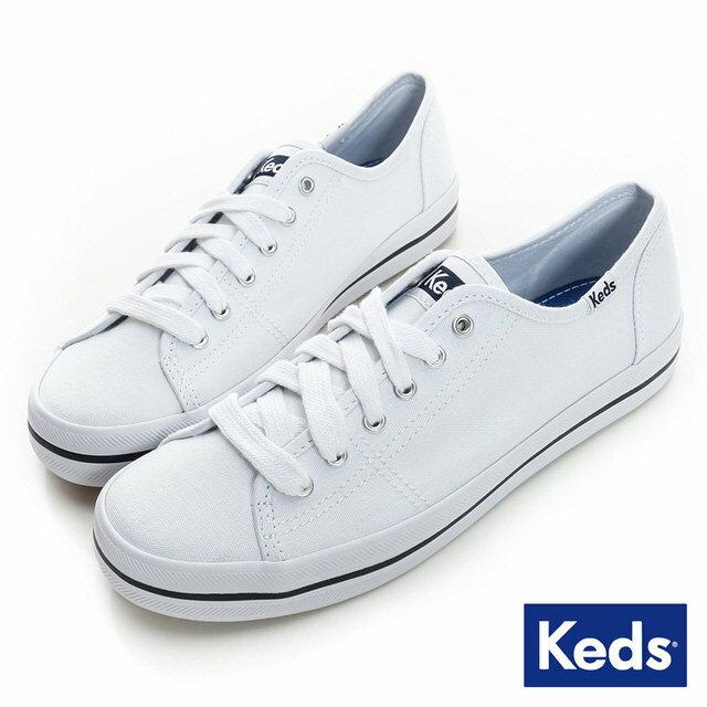 【KEDS 促銷85折│全店免運】KEDS 中性基本綁帶休閒鞋(白色)