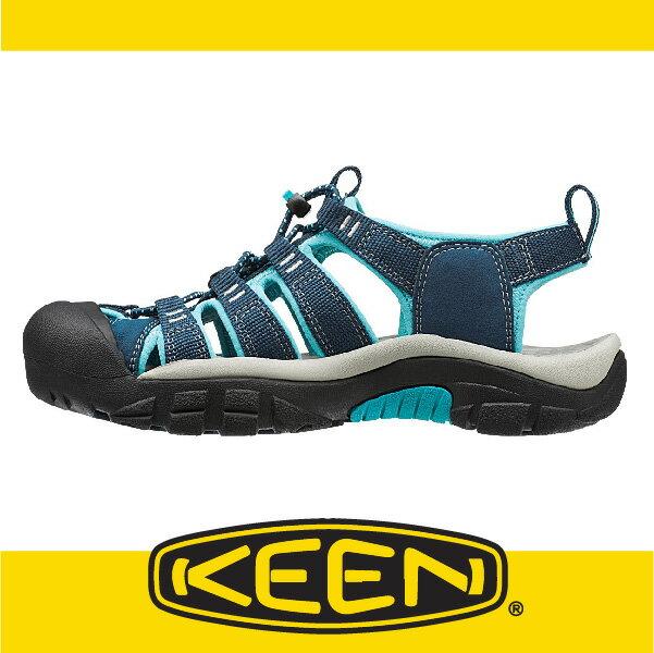 萬特戶外運動-美國KEEN NEWPORT H2 戶外護趾涼鞋 織帶 女款 深藍/粉藍 163-1014199