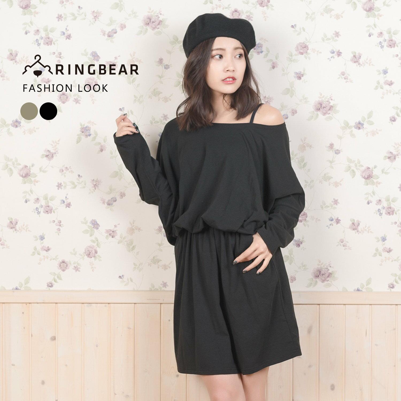 休閒洋裝--知性性感風素色側邊口袋連袖寬領連身收腰裙(黑.綠XL-5L)-A189眼圈熊中大尺碼 1